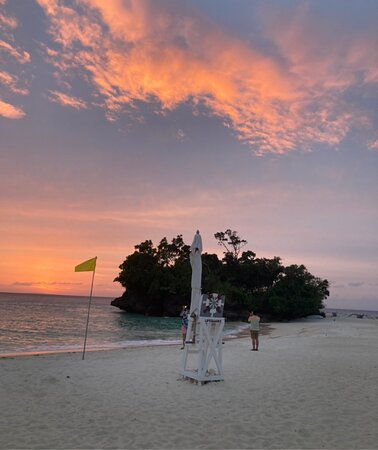 Sunset at Crimson's spacious private beach