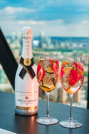 Champagne cocktails at the top of the Gherkin
