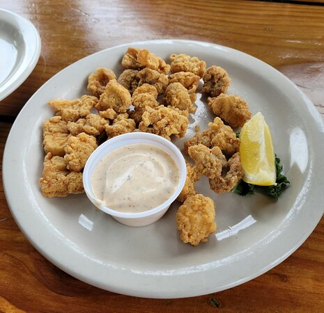 Fried alligator with a Cajun ranch. Alligator was delicious and the ranch was wonderful, great flavor and no heat.