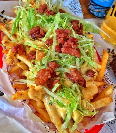 Dirty fries - dirty spread, shredded iceberg lettuce + bacon lardons