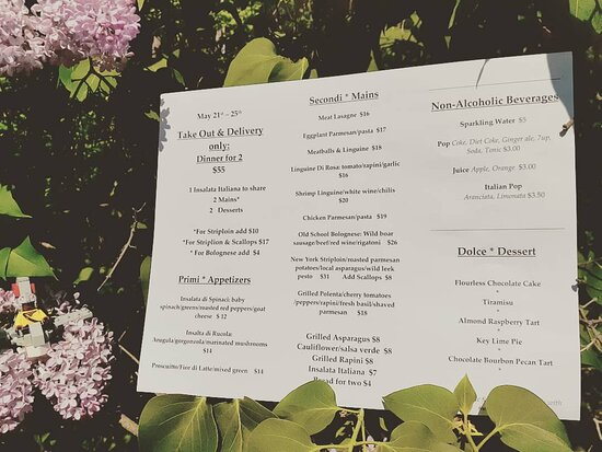 Menu for May 21st - 25th: Old School Bolognese:  slow-simmered with Wild boar, ground beef, red wine & one or two secret ingredients....with rigatoni,  Grilled New York Striploin, parmesan roasted potatoes, Honeywagon farm asparagus & wild leek pesto.  Add Scallops if you're in the Surf & Turf mood! Also, Grilled Polenta, olive oil poached cherry tomatoes, roasted peppers, rapini, fresh basil & shaved parmesan. Key Lime Pie and Almond Raspberry tart too. Take-out & Delivery  2pm - 8pm, 5 days a