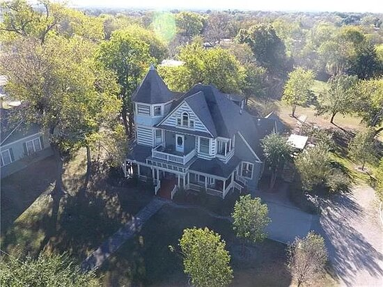 Aerial of Four Winds on 2.5 acres near historic downtown