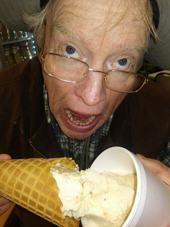 """Swan Valley, ID: Homer... Couldn't make up his mind whether to get his Square Ice Cream in a """"Cone or a Cup"""" so He Chose Both!  Loved it! Homer, says, """"You'll Love It Too!"""""""