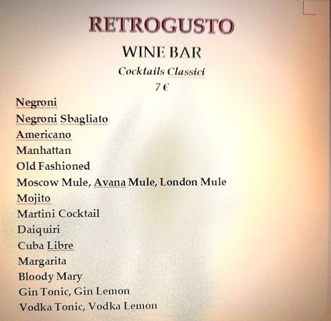 Cocktails Classici