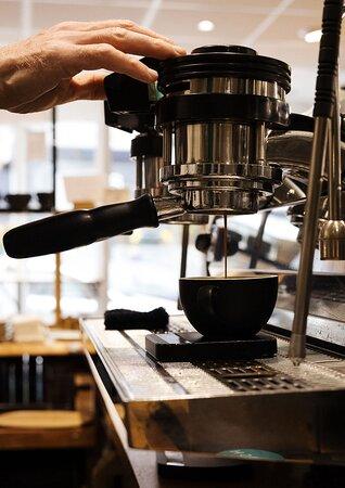 High quality espresso coffee made La Marzocco Strada machine.