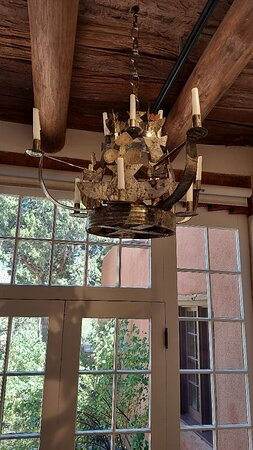One of many beautifful tin chandeliers