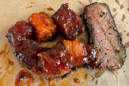 Peoria Heights, IL: Pork Belly Burnt Ends, and Brisket.  Both yummy!