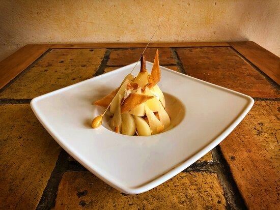 Ma Bourdaloue aux poires épicées, mascarpone vanillé, sablé breton