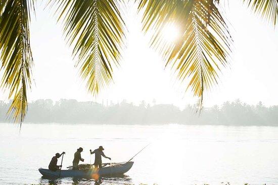 Local fishermen catching fish on the lagoon