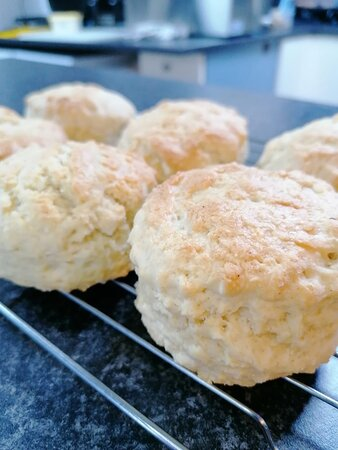Homemade scones prepared in our kitchen