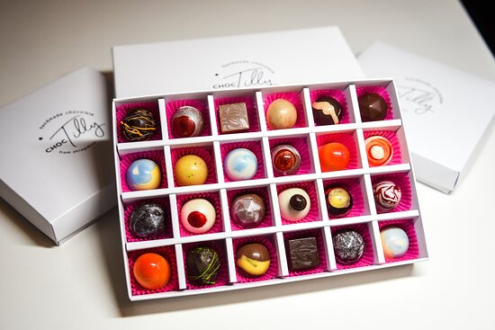 Jackfield, UK: Our Luxury 24 Box Selection of Handcrafted Chocolate BonBons.