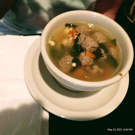 Salad wedding soup and vino