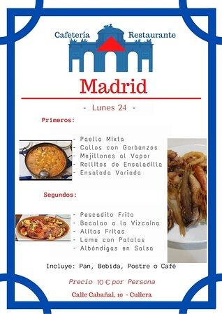 Ya estamos listos👏👏!!! Nuestro menú 🍽 para mañana🤩!!!! Aunque este nublado igualmente 😋😋😋 apetece muchísimo🤗 una buena cocina madrileña😍😍😍! Esperamos vuestras reservas👩🍳!! Cafetería - Madrid Calle Cabañal, 10 ☎️ - 960 11 67 08