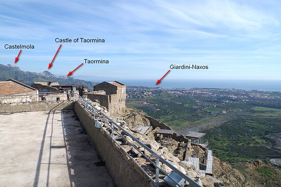 Taormina and its area from Saracen Castle in Calatabiano. From here you will have a stunning view on the bay and Alcantara valley. Only 20 minutes from Taormina