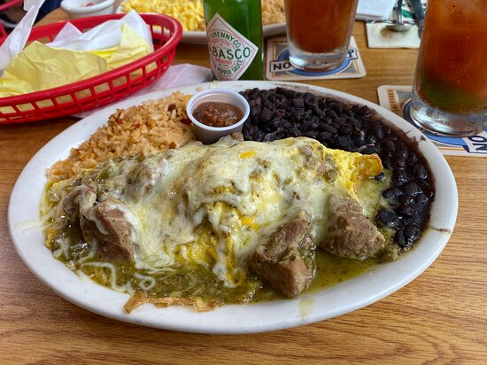 Cuyama Chile Verde omelet - with sides of rice and beans