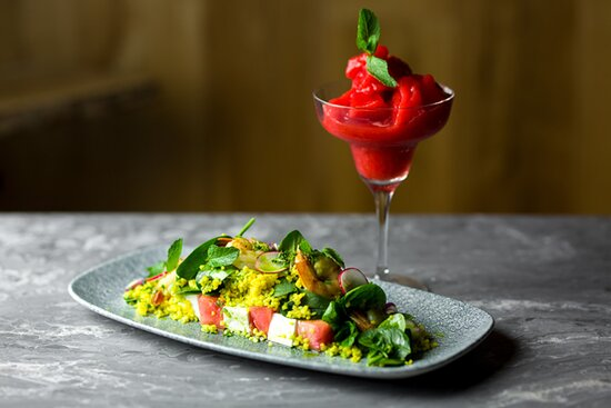 House salad and strawberry margarita