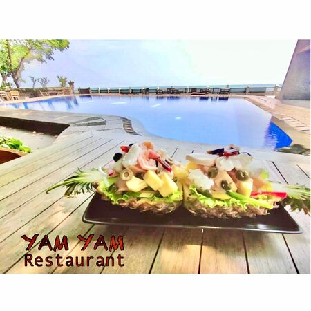 Pineapple boat salad  YAM YAM Restaurant Jepara is Open Everyday!!!!!! Full service Nonstop. Special info during Covid period the Open hours will be from 8:00-21:00 ( last order 20:15, last order for take away until 20:45)  See you... Kiss (from faraway) All staff YAM YAM 😘