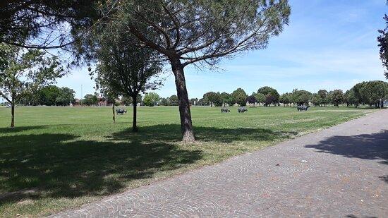 Basilica di Sant'Apollinare in Classe: parco Giovanni Paolo II con installazione di bufale in pietra