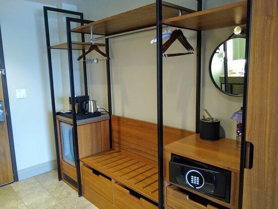 Clothes storage and kitchenette area of king room at the Hyatt Regency Lake Washington in Renton, WA