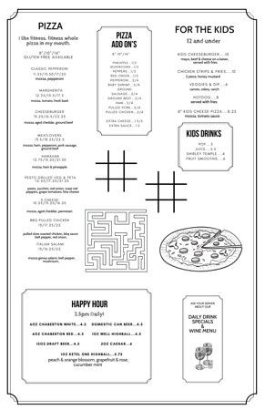 What? PIZZA? Yes. PIzza - made fresh in house and served with love. Gluten free cauliflower crust available!