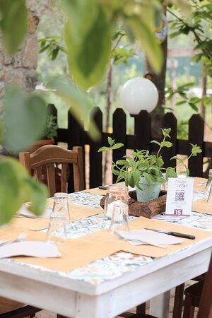 Il cortile esterno è dotato di ampio spazio per cenare comodamente ed intimamente sotto le luci dei nostri ulivi ed alberi da frutto.