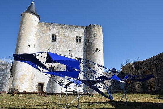Noirmoutier en l'Ile, Francia: Yvonne, la baleine. Sculpture de Julien Vrignaud, installée dans la cour du château, en avril 2021. De 6.7m de long et 4m de large, elle pèse 225kg.