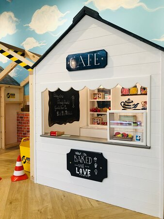 Little ones can enjoy hours of creative and imaginative play in the cafe and building site. Part of the new Mini Role Play Village in the Sky Terrace Cafe Bar at Head Over Heels Chorlton