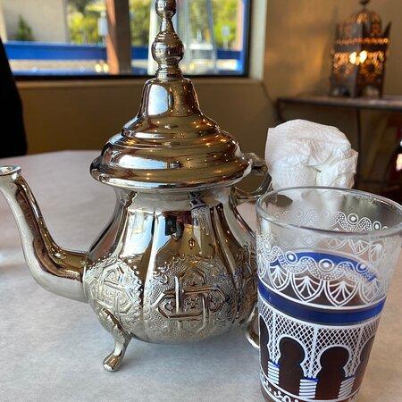 Lentil Soup, Couscous Royale, Spicy Vegan Rarghifat, falafel fingers and hummus, sweetened Moroccan Mint Tea