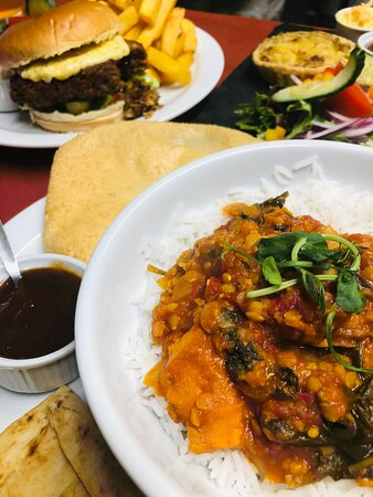 A selection of our homemade vegan produce, Homity Pie, Sweet potato and Spinach Curry and our Mexican Bean burger
