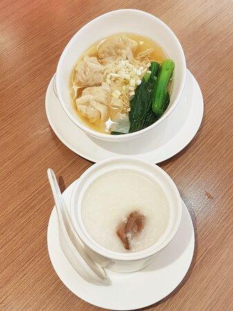 原隻鮑魚雞粥、鮮蝦雲吞麵