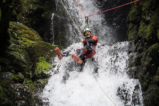 Saint Arnaud, New Zealand: Having fun while abseiling in Hidden Falls