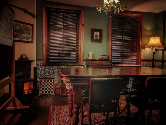 The Bureau, our 1930s Prohibition bureau themed private hire space, fit for up to 8 persons featuring a hidden antique billiards table! For meetings, gentleman's games nights, RPG meetings, interviews, table reads, etc.