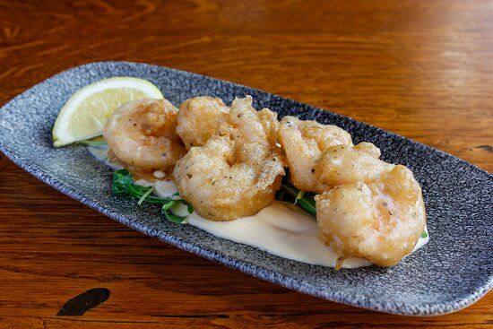 gambas en tempura at Ambiente tapas restaurant Leeds