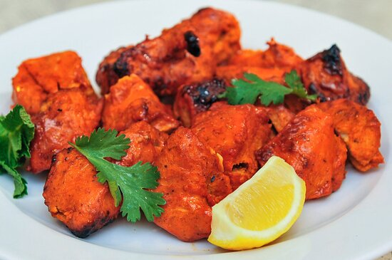 Chicken Boti (GF) Boneless chunks of chicken breast marinated in our yogurt sauce and freshly ground spices, then roasted to perfection.