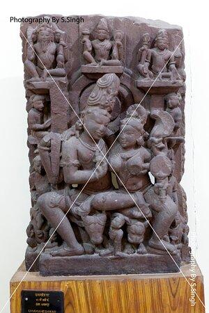 UMA- MAHASHWER ruined Fine carved sculpture 13th Century. Rani Durgawati Museum , Jabalpur, M.P. india