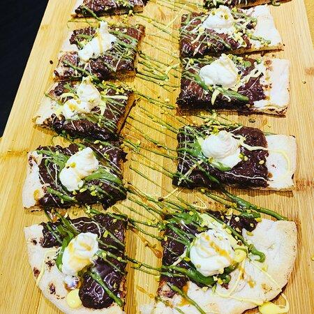 Pinsa chococrunch pistacchio mascarpone # gluten free