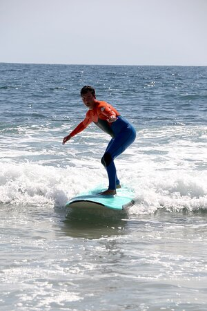 Family surfing lesson in Laguna Beach California with Goff Tours. 5-28-21
