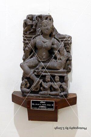 """Ambika"" Ruined Fine carved artefact's /sculpture 11th 12 th Century. Rani Durgawati Museum , Jabalpur, M.P. india"