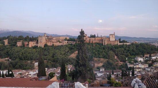 The amazing view of the Alhambra whilst enjoying wonderful food.