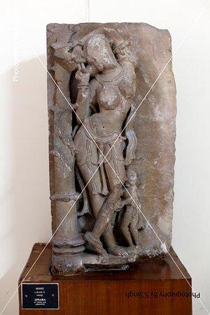 Apsara , ruined Fine carved artefact's /sculpture 11th Century. Rani Durgawati Museum , Jabalpur, M.P. India