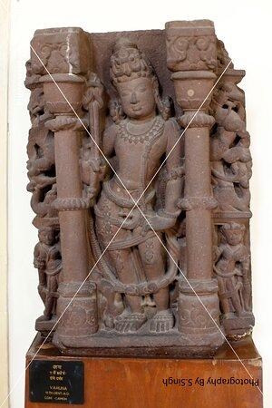 """Lord Varuna"" Plam Leafs , ruined Fine carved artefact's /sculpture 11th Century. Rani Durgawati Museum , Jabalpur, M.P. India"