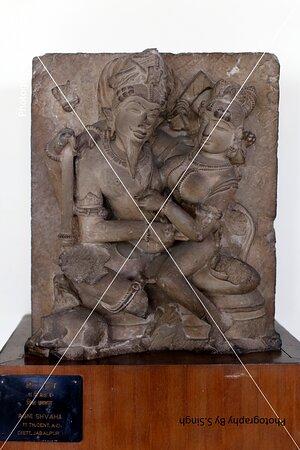 """Lord Agni "" Plam Leafs , ruined Fine carved artefact's /sculpture 10th Century. Rani Durgawati Museum , Jabalpur, M.P. India"