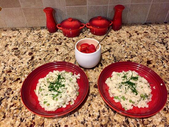 Sudbury, MA: Lemon mint risotto and strawberries with balsamic glaze