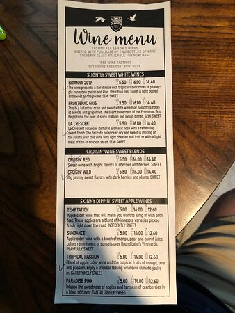 Wine tasting menu - you get your wine flight free if you buy a bottle of wine
