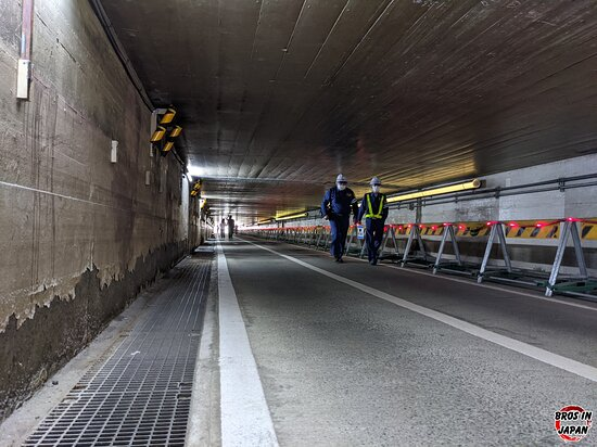 The underpass is about 200m long and if you're taller than 170cm you'll probably have a hard time passing through.