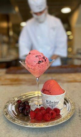 Rasberry Sorbetto and Traverse City Cherry Ice Cream