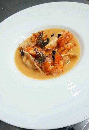 Dumpling of prawns and ricotta