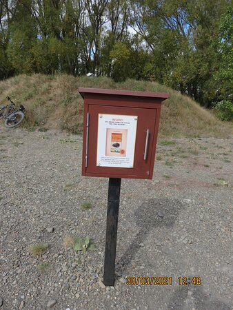 Central Otago, New Zealand: One of the boxes along the way which held the stamp to get your passport stamped