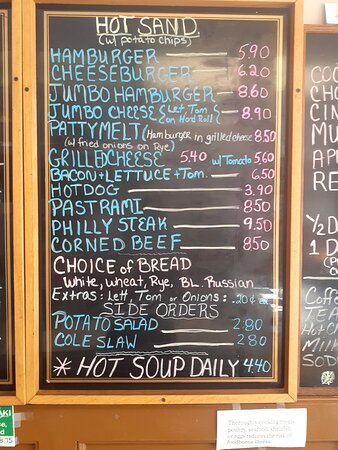 Hot Sandwich, Bread Choices, and Sides Menu