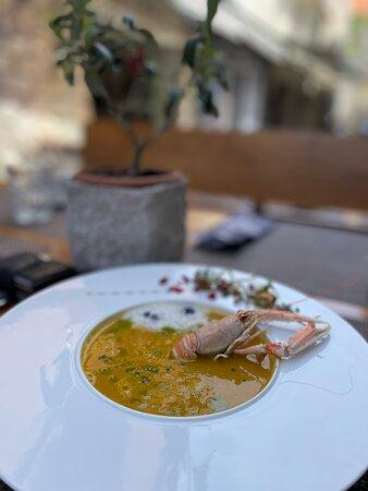FIsh cream soup ith  prawns